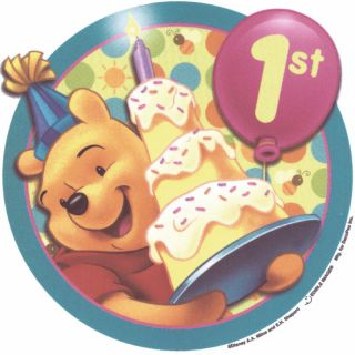 Pooh 1st Birthday Edible Cake Topper Decor Image