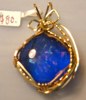 14k Gold Wire Wrap Fused Dichroic Glass Pendant Jewelry Handmade in