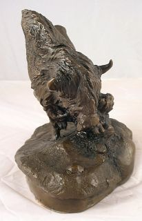 Sculpture of Buffalo Bison Thunder on The Plains by Ron Chapel Signed
