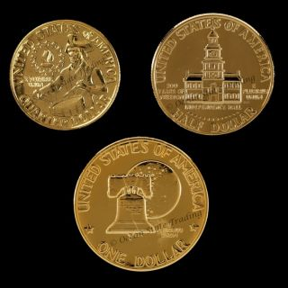 1776 1976 24 KT Gold Plated Bicentennial Coin Set 3 Coins