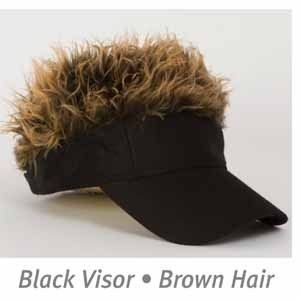 Billy Bob Flair Brown Hair Black Hat Visor Funny Costume Accessory