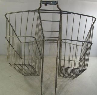 Vintage Metal Wire Bike Bicycle Basket Rear Double Saddle Bag Rack