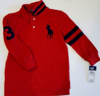 Ralph Lauren Boys Long Sleeved Arm Striped Big Pony Polo Sz 7 New $50