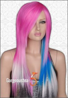 Psychobilly Style Warmth Stylish Emo Lady Long Hair Full Wig