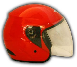 New Dot Red Open Face Scooter Motorcycle Helmet Medium