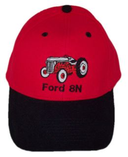 Ford 8N Tractor Embroidered Red & Black Hat   Cap Gift