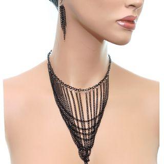 Black Multi Dangling Bib Chain Necklace Earrings Set