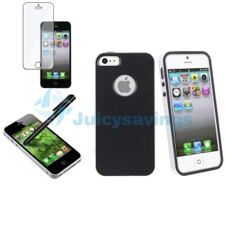 Black White 2 Piece Hybrid TPU Combo Case For iPhone 5 Screen