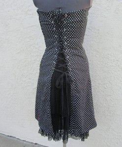 Tripp NYC Black White Polka Dot Dress M Bustle Lace Up Back Goth