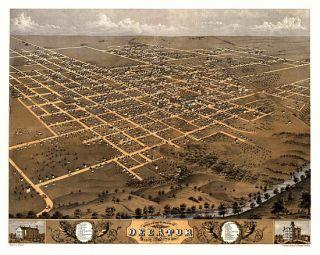 Birds Eye View Decatur Illinois 1869 Macon County