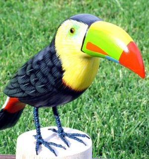 Toucan Tropical Hand Carved Wood Bird Sculpture New