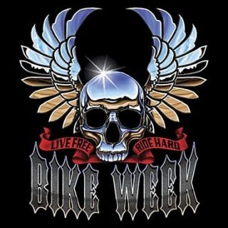 Bike Week Chrome Skull Biker Motorcycle Long Sleeve T Shirt