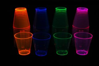 Assorted Neon Blacklight Reactive 2oz Shot Glasses 60ct