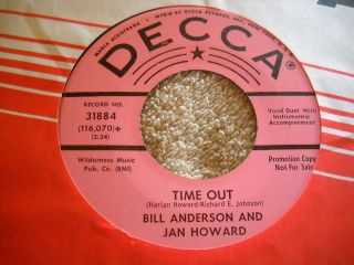 Bill Anderson Jan Howard Time Out DJ 45 I Know Youre Married Country
