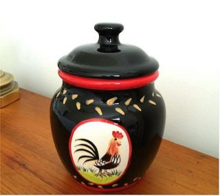 Biscotti Cookie Jar or Canister Rooster Design Black Red Gold Trim