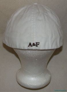 Rare Abercrombie & Fitch Fitted White Distressed Logo Cap/Hat