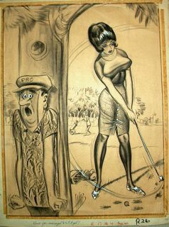 BILL WARD   Large CONTE CRAYON ORIGINAL ART  GOLF THEME