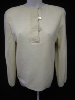 BILL BLASS Ivory Button Down Padded Shoulders Long Sleeve Sweater Top