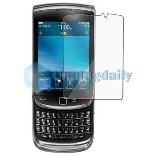 Black Blue Hybrid Double Layer Case Film Charger for Blackberry Torch
