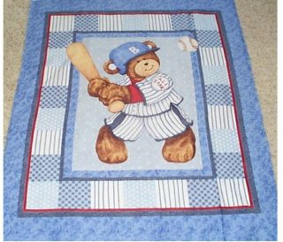 Billy Bear Teddy At Bat Baseball Quilt top Panel Fabric Cotton Baby