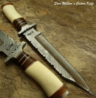 Steve William 1 of A Kind Custom Damascus Bowie Knife Real Camel Bone