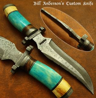 Bill Andersons 1 of A Kind Custom Damascus Knife Giraffe Burl Wood