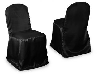 100 Black Satin Banquet Chair Covers Wedding Party New
