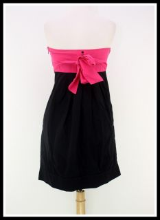 Billabong Size M Hot Pink Black Color Block Strapless Casual Button
