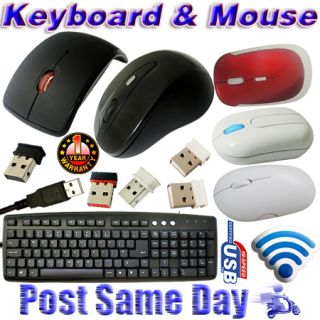 USB Optical Wireless Laser Mouse Wired Keyboard Slim Layout Multimedia