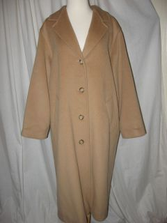Max Mara Classic Tan 4 Button Wool Coat Full Length Made in Italy Size