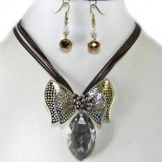 Black Diamond Glass Crystal Gold Silver Necklace Set Costume Jewelry