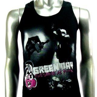 Sz L Green Day Billie Joe T Shirt Tank Top Vest Men Rock V24