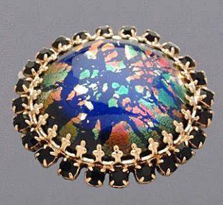 Swarovski Rhinestone Collection Black Opal Button New