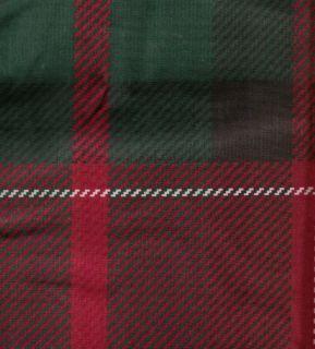Cabin Lodge Tartan Plaid Burgundy Red Black Fabric Shower Curtain NEW