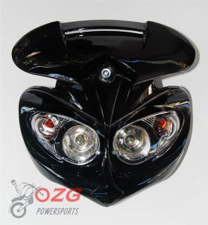 Head Light F2 motorcycle black dirt bike ktm honda lamp fairing mask