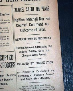 BILLY MITCHELL Found Guilty Court Martial U.S. AIR FORCE Founder 1925