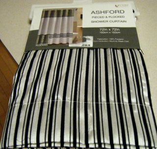 Black White Shower Curtain w Stripes Border Flocked Velvet New