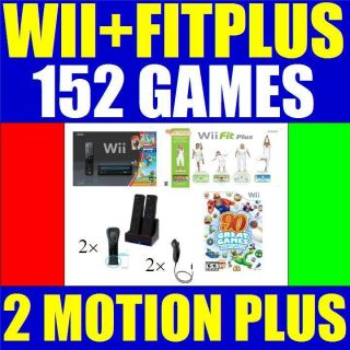 BLACK NINTENDO WII CONSOLE SYSTEM WII FIT PLUS 2 PLAYER COMPLETE