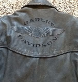 Davidson Brown Distressed Billings Leather Jacket Men Large