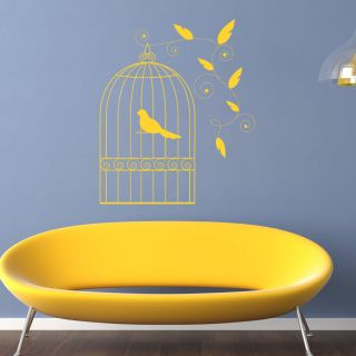 Bird Cage Floral Decorative Wall Stickers Wall Art Decal Transfers