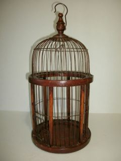 Wood Wire Bird Cage Decorative Wooden Primitive Victorian Decor