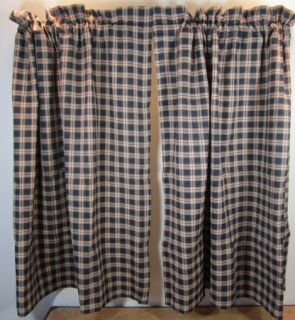 Country Red Black Tan Plaid Bingham Lined Cotton Tiers 72x24