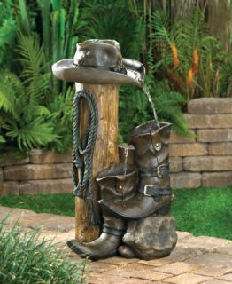 Western Country Cowboy Boot Horse Statue Bird Bath Outdoor Garden