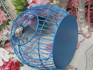 Jewel Aqua Round Metal Bird Cage Decor Shabby Cottage Chic
