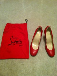 Blu Cantrells Christian Louboutin Red Leather High Heels