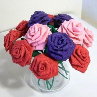 paper flower 12 red pink purple roses anniversary birthday gift