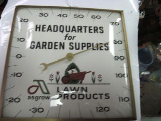Vintage Dekalb Asgrow Lawn Products Thermometer Aluminum