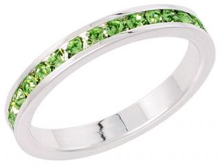 Silver Eternity Band Ring w Colored Crystal Birthstones