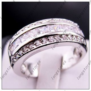 Jewellery Bland New White Sapphire Mens White Gold GF Ring Size10 for