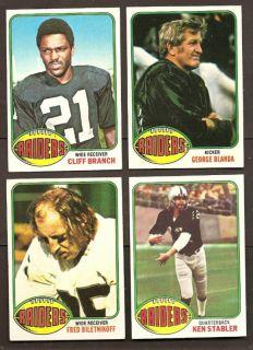 1976 Topps Oakland Raiders Team Set Stabler Blanda Guy